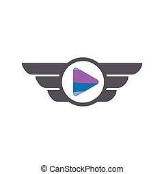 spill, medier, vektor, logo, vinge, ikon