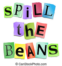 Spill the beans concept. - Illustration depicting cutout...