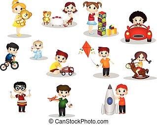 spille, børn, legetøj