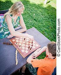 spille chess, udendørs
