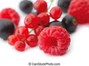 Spilled berries - Spilled mixed berries on white background ...
