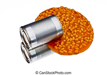 Spilled can of baked beans