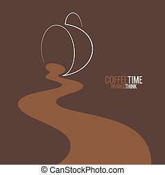 spilled coffee cup design background