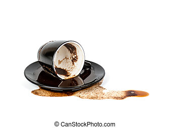 spilled coffee in inverted black Cup with a saucer isolated