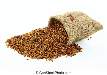 Spilled from burlap sack Pickling Spice. - Picture of Pile...
