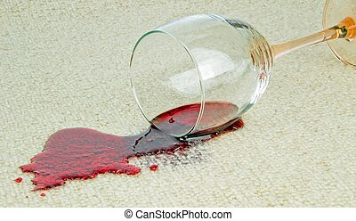 Spilled Galss of Wine on a Carpet - A spilled glass of red ...