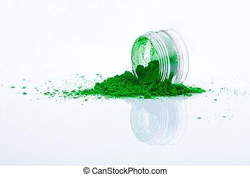 spilled green makeup powder