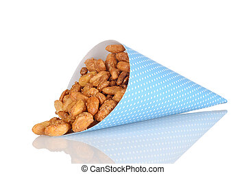 spilled honey covered peanuts in blue paper cone