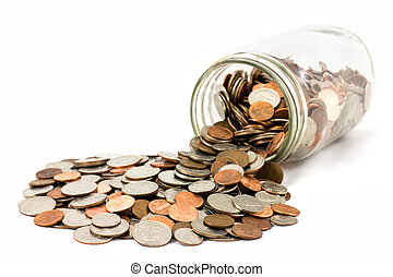 Spilled Jar of Coins - A spilled jar of US coins on a white ...