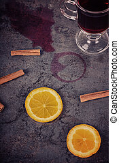 Spilled mulled wine and orange, retro toned
