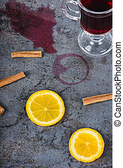 Spilled mulled wine and orange