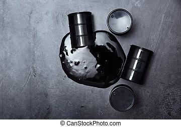 Spilled oil drums