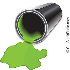 Spilled paint bucket - Gray can with green spilled paint