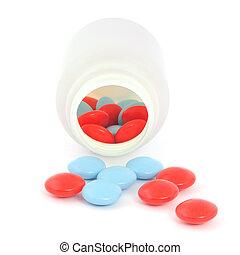 Spilled pills from prescription bottle