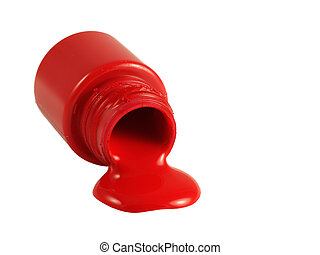 Spilled red paint