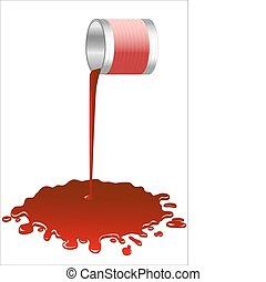 Spilled  red paint  - Spilled red paint from a bucket.Vector