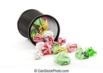 trash bin - Spilled trash bin full of crumpled paper