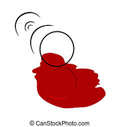 Spilled Wine Glass. Vector illustration.