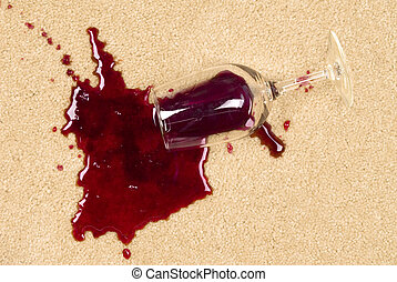 Spilled wine on carpet - A glass of spilled wine on brand ...