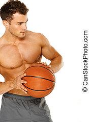 spiller, basketball, mandlige unge, portræt