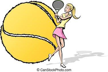 spiller, bold, kvindelig, tennis