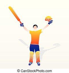 spiller, cricket, fejre, held