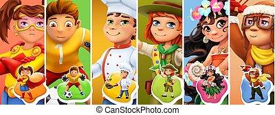 spiller fodbold, sæt, koge, costumes., spejder, 3, børn, vektor, ikon, pilot., superhero, liden