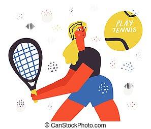 spiller, hånd, tennis uvæsen