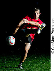 spiller, soccer, skud
