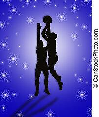 spillere, basketball, illustration