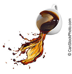 cup of spilling black coffee with splash