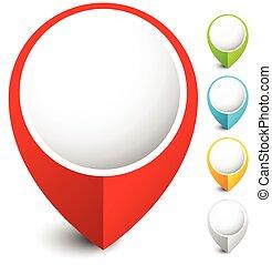 spillo mappa, pennarello, colori, 5, icona