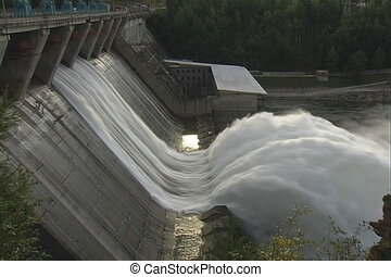 Spillway. - Electrical station on the river.