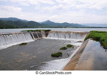Spillway in the reservoir of Prachuapkirikhan, Thailand.