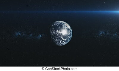 Spin earth orbit meteor glow starry background