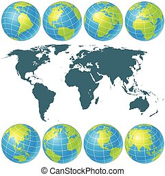 Spin Globes Collection. Vector Image
