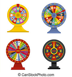 Spin wheel banner concept set isolated