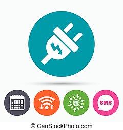 spina, energia elettrica, energia, simbolo., segno, icon.