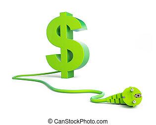 spina, potere, segno dollaro, sfondo verde, bianco