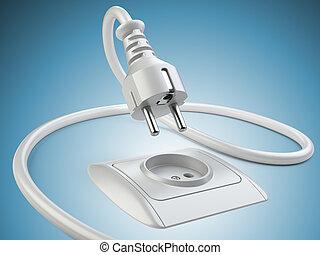 spina, presa, potere, equipment., elettrico, collegare
