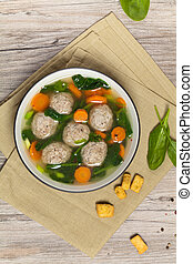 Chicken meatball soup - Spinach and Chicken meatball soup