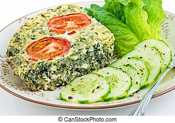Spinach and feta cheese quiche