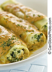 spinach and ricotta cannelloni - Pasta cannelloni with...