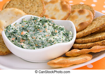 Spinach Dip - Creamy spinach dip with crackers.