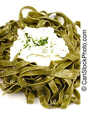 spinach fettuccine alfredo - Gourmet exquisite spinach...