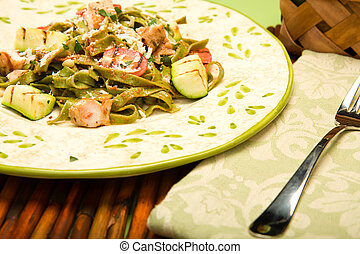 Spinach Fettucini with chicken and grilled Vegetables