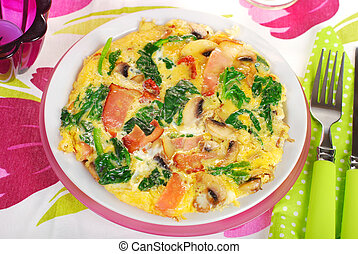 spinach frittata with mushroom, ham and dried tomato - round...