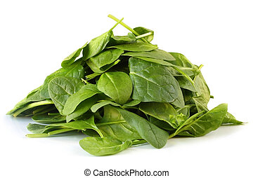 Pile of baby spinach leaves, on white background.