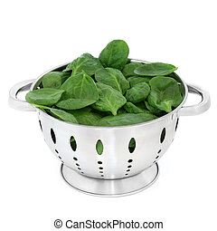 Spinach Leaves - Spinach leaves in a brushed stainless steel...