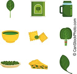 Spinach leaves vegetables icons set, flat style